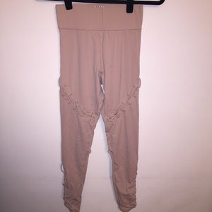 Carbon38 Tan Lace Up Contour Leggings | S